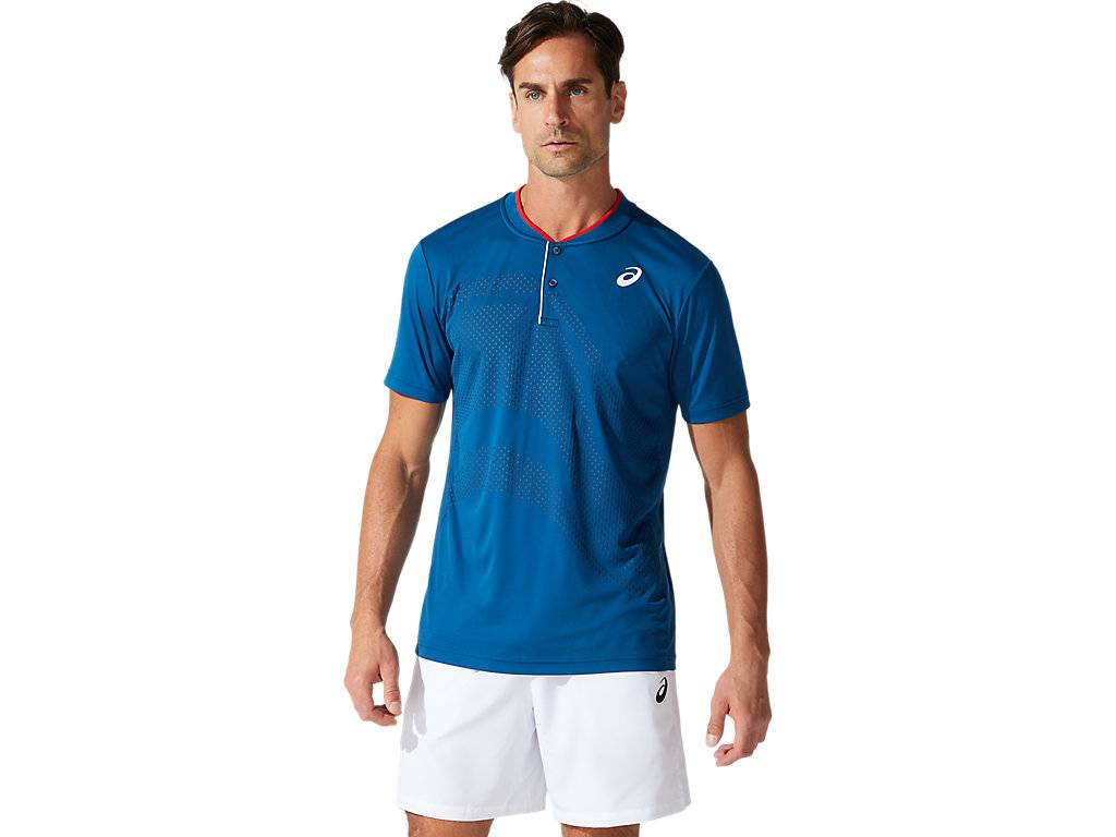 Asics Court M Gpx Polo Mako Blue Hommes Taille S