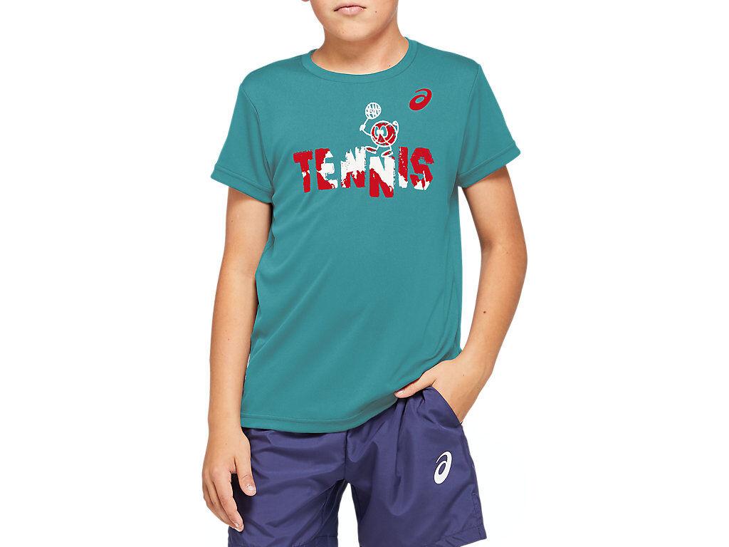 Asics Tennis B Graphic T Techno Cyan Enfants Taille XL