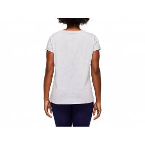 Asics Logo Graphic Tee Mid Grey Heather Femmes Taille S - Publicité