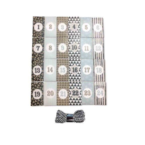 C TOP Kit DIY calendrier avent 24 sacs papier 12x7cm avec corde 10m