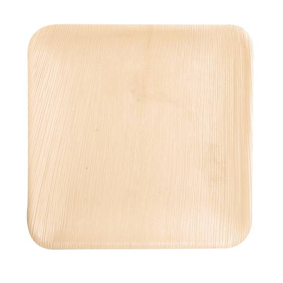 . 25 assiettes rectangulaires en feuille de palmier 25,5 cm