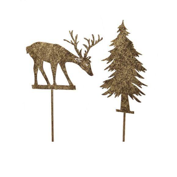 . Tige en fer renne ou sapin doré 20 cm