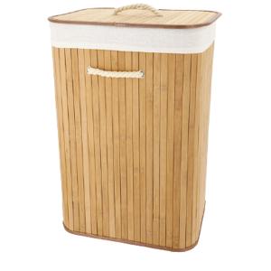 . Panier à linge rectangulaire bambou pliable - Publicité