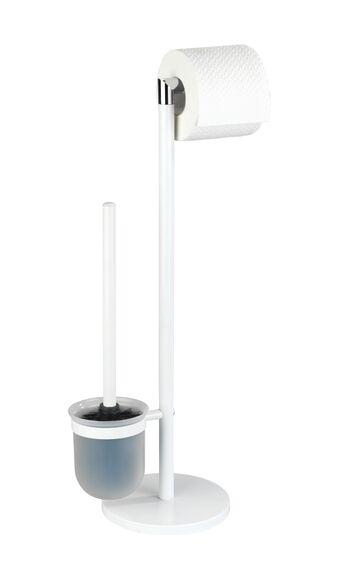 WENKO Valet WC dérouleur + balai métal blanc