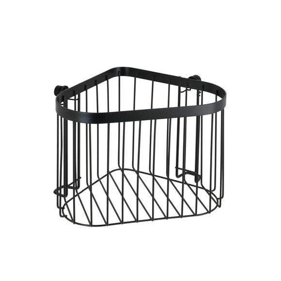 WENKO Etagère d'angle acier noir Classic Plus 23,5x16,5x18,5 cm