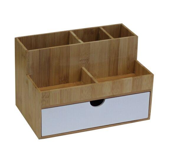 . Rangement organiseur multi-produit 3 tiroirs blanc bambou