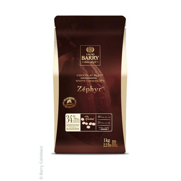 BARRY Chocolat de couverture blanc en pistoles Zephyr 1kg