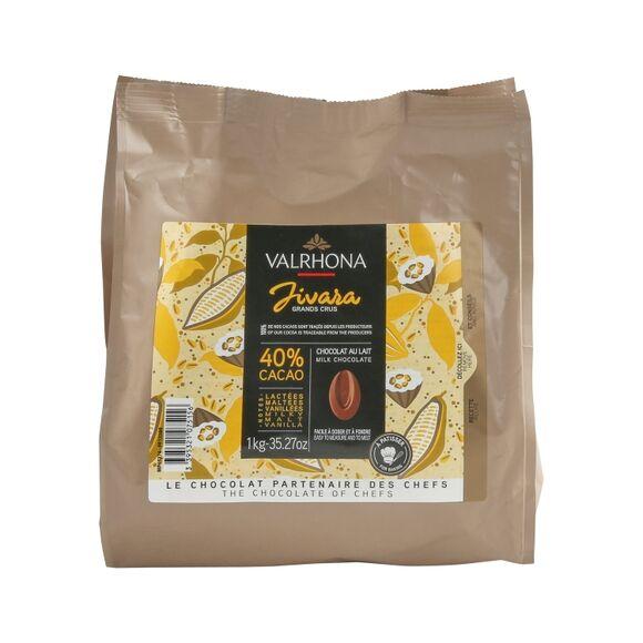 VALRHONA Sac fèves chocolat de couverture Lait Jivara 40% 1KG