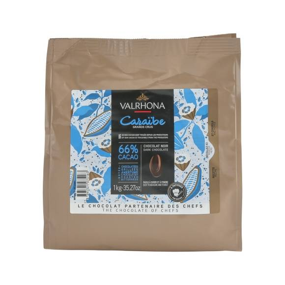 VALRHONA Sac fèves chocolat de couverture noir Caraibe 66% 1KG