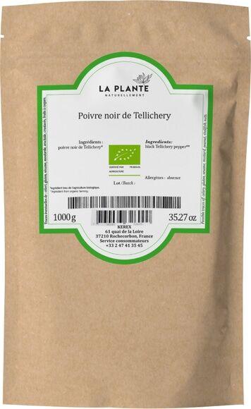 LA PLANTE Poivre noir de Tellichery Bio 1 kg