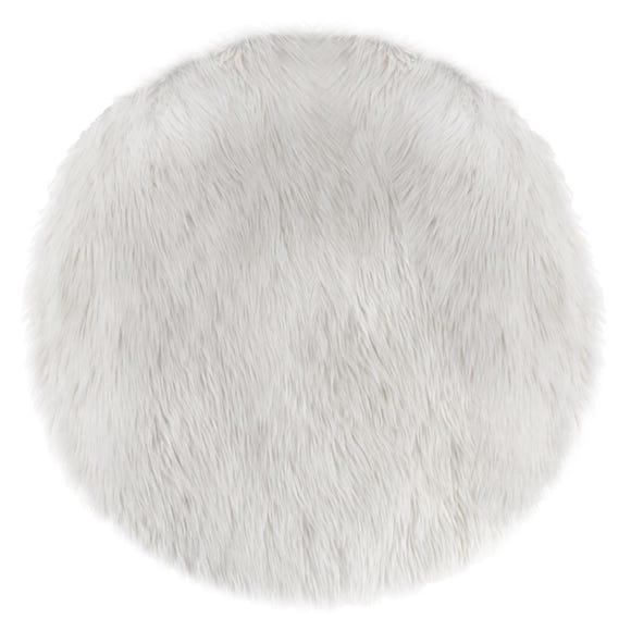 ATMOSPHERA Tapis fourrure rond blanc