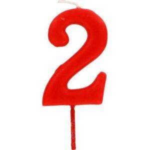 PATISDECOR Bougie d'anniversaire chiffre 2 rouge - Publicité