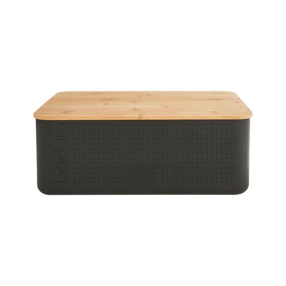 BODUM Boite pain grand modèle noir couvercle bambou 24x37x14 cm