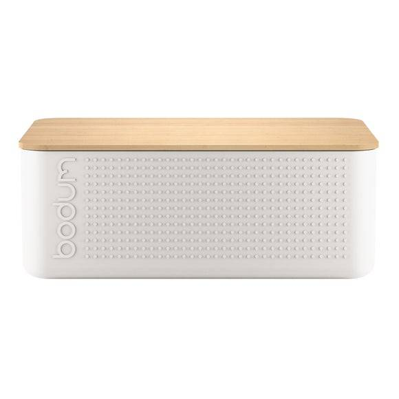BODUM Boite pain grand modèle blanc couvercle bambou 24x37x14 cm