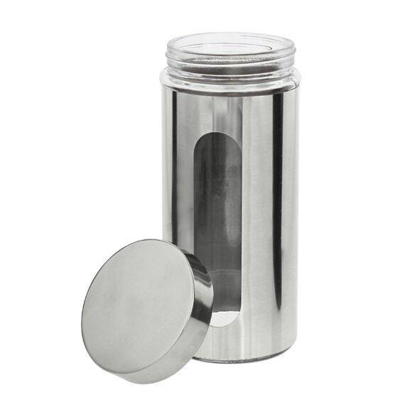 ZELLER Pot de conservation à hublot en verre et chrome 1L
