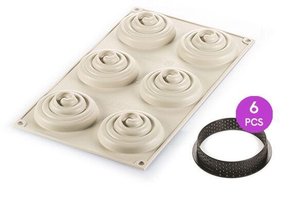 SILIKOMART Moule 3D rose spirale en silicone 18x32cm Mini tart twist