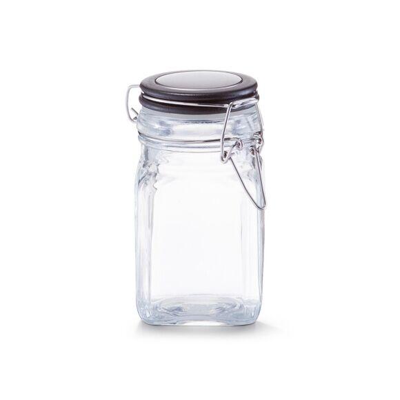 ZELLER Soldes - Pot à épices carré en verre couvercle noir 280ml