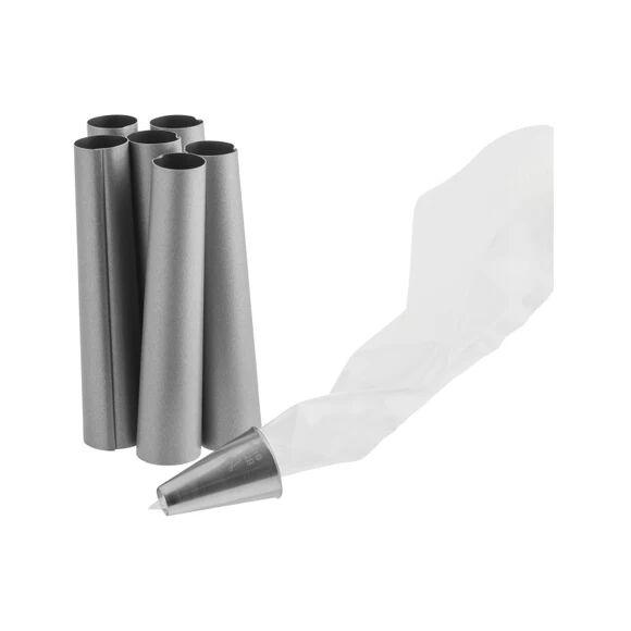 . Kit de 6 tubes à rouler en métal avec poches et douilles