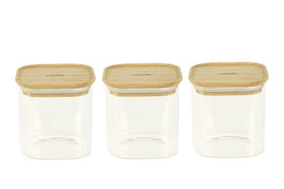 Pebbly Set 3 boîtes carrées en verre couvercle bambou 800ml