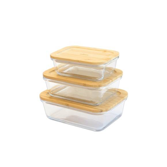 Pebbly Set 3 boîtes rectangulaires verre/bambou 400/640/1000ml
