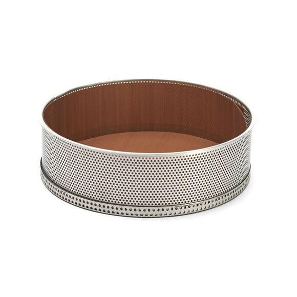 DE BUYER Moule à manqué avec fond démontable en inox perforé 24x6,5cm