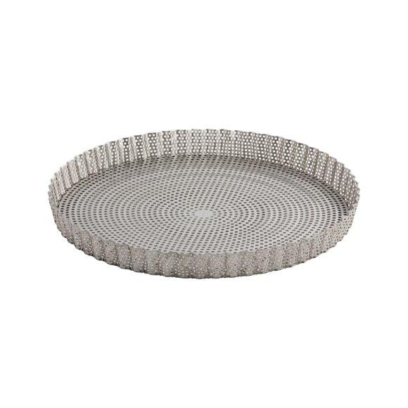 DE BUYER Moule à tarte avec fond démontable en inox perforé 28x2,5cm