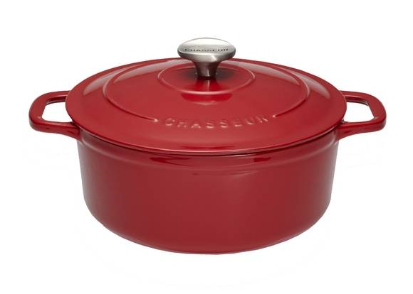 CHASSEUR Cocotte ovale en fonte rouge 28cm 6,3L