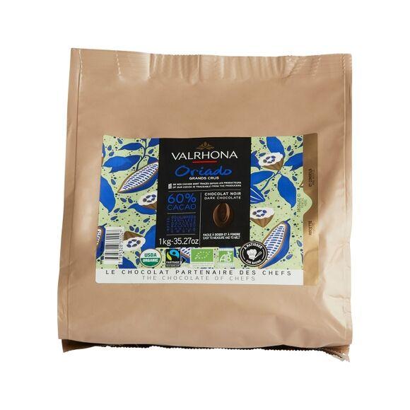 VALRHONA Sac fèves chocolat de couverture noir Oriado 60% 1KG