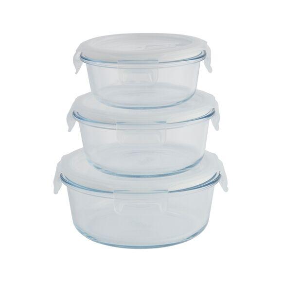 Pebbly Set 3 boîtes rondes verre
