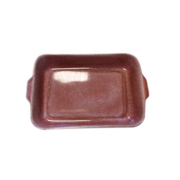 . Plat à four grès réactif rouge 33x12xH6,5cm