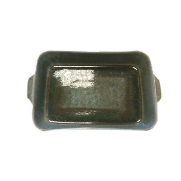 . Plat à four grès réactif vert 33x12xH6,5cm