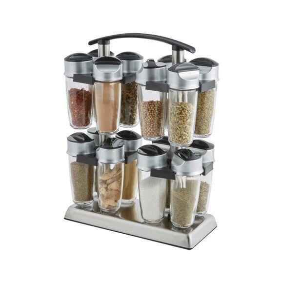 TRUDEAU Support à épices carrousel inox pour 16 pots à épices en verre