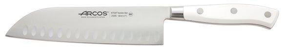 ARCOS Couteau alvéolé blanc en inox Santoku Riviera 18cm