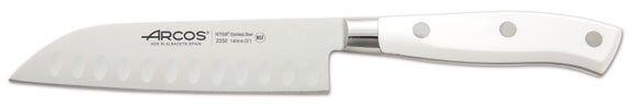 ARCOS Couteau alvéolé blanc en inox Santoku Riviera 14cm