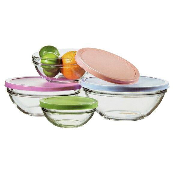PASABAHCE Lot de 4 saladiers verre avec couvercle plastique Ø14 Ø17 Ø20 Ø23