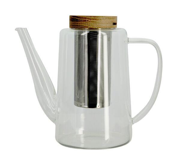 OGO LIVING Théière en verre avec filtre inox et couvercle en bois 1,2l