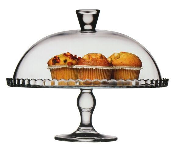 PASABAHCE Plat à tarte en verre sur pied avec cloche D32 cm