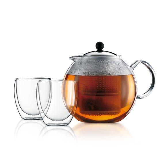 BODUM Coffret Assam théière + 2 tasses double paroi Pavina 25cl