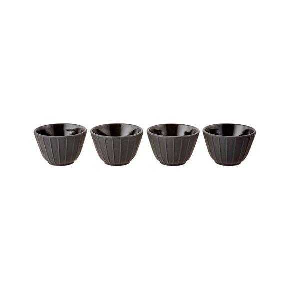 THE KITCHENNETTE Set de 4 tasses en fonte noir 12cl