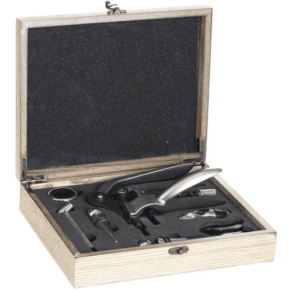 SECRET DE GOURMET Coffret sommelier 9 pièces Marc en bois naturel 27cm