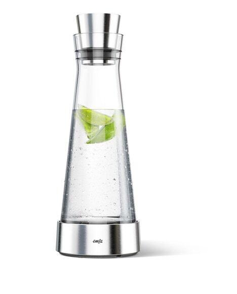 . Carafe en verre avec bloc refroidissant en inox 1l