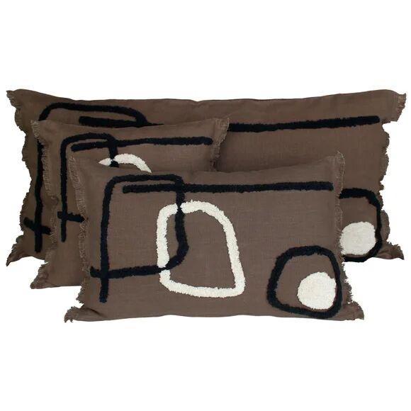 . Coussin 45x45cm en coton marron brownie Tikri