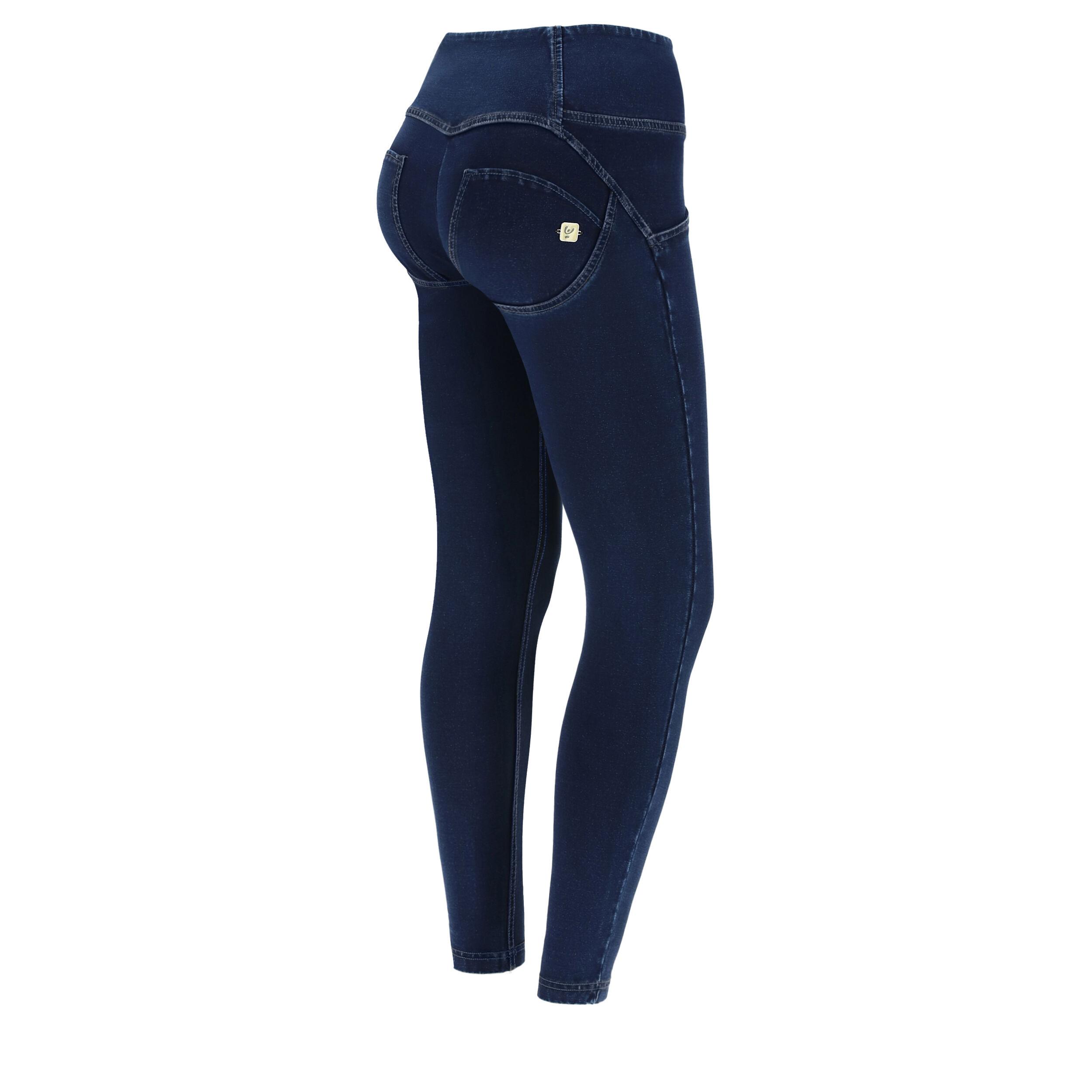 Freddy Jean push up WR.UP® 7/8 en denim foncé à taille haute avec boutons Jeans Sombre-Coutures Le Ton