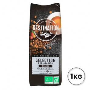 Destination Bio 100% Arabica Sélection de Grains de Café Bio Destination 1kg