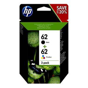 HP 62 Pack de 2 cartouches d'encre Noire et Trois couleurs (Cyan, argenta, Jaune) authentiques (N9J71AE) - Publicité