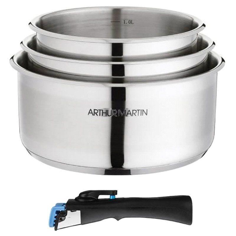 ARTHUR MARTIN Set ARTHUR MARTIN 3 casseroles inox amovibles