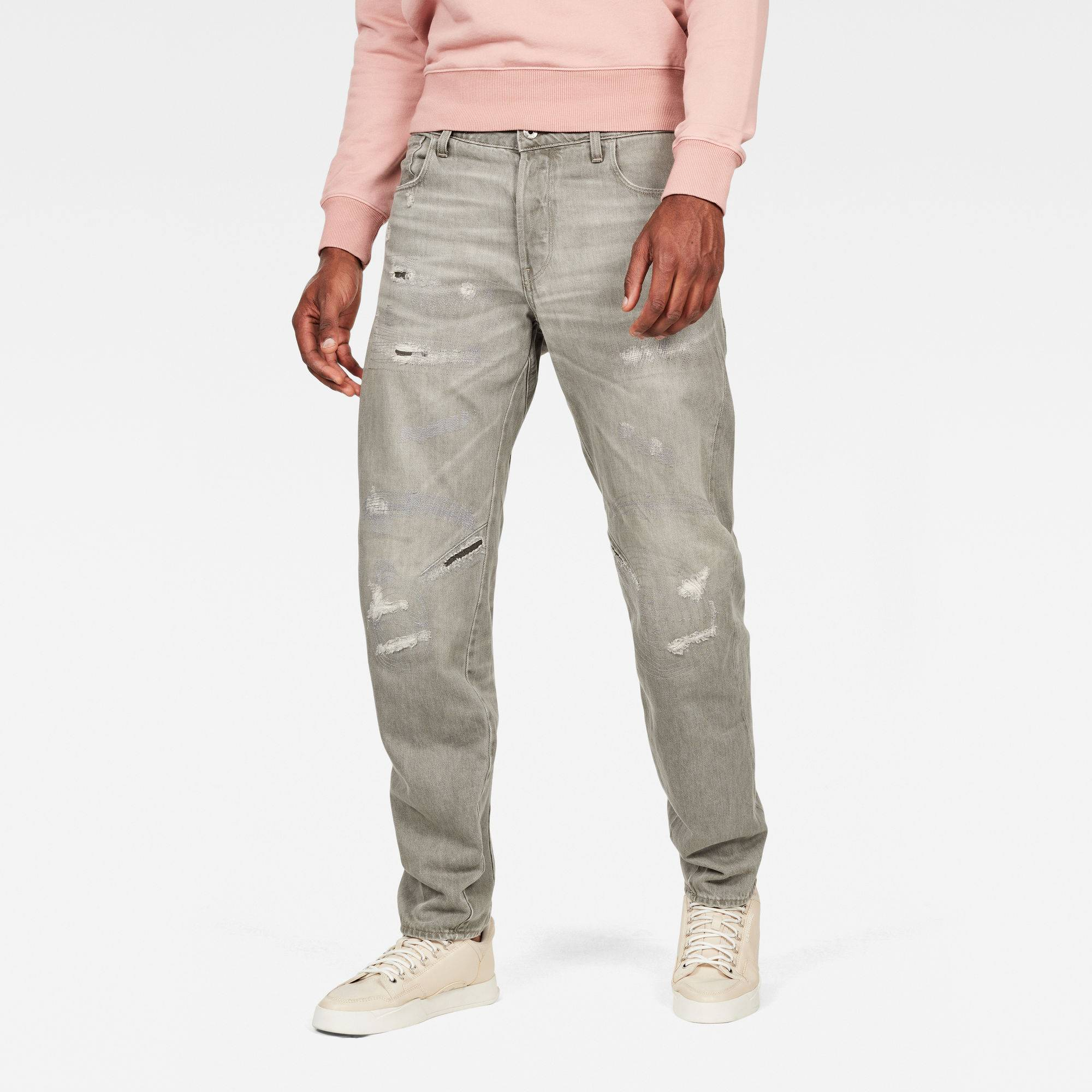 G-star RAW Hommes Jean Arc 3D Relaxed Tapered Earthtrace Colored Gris