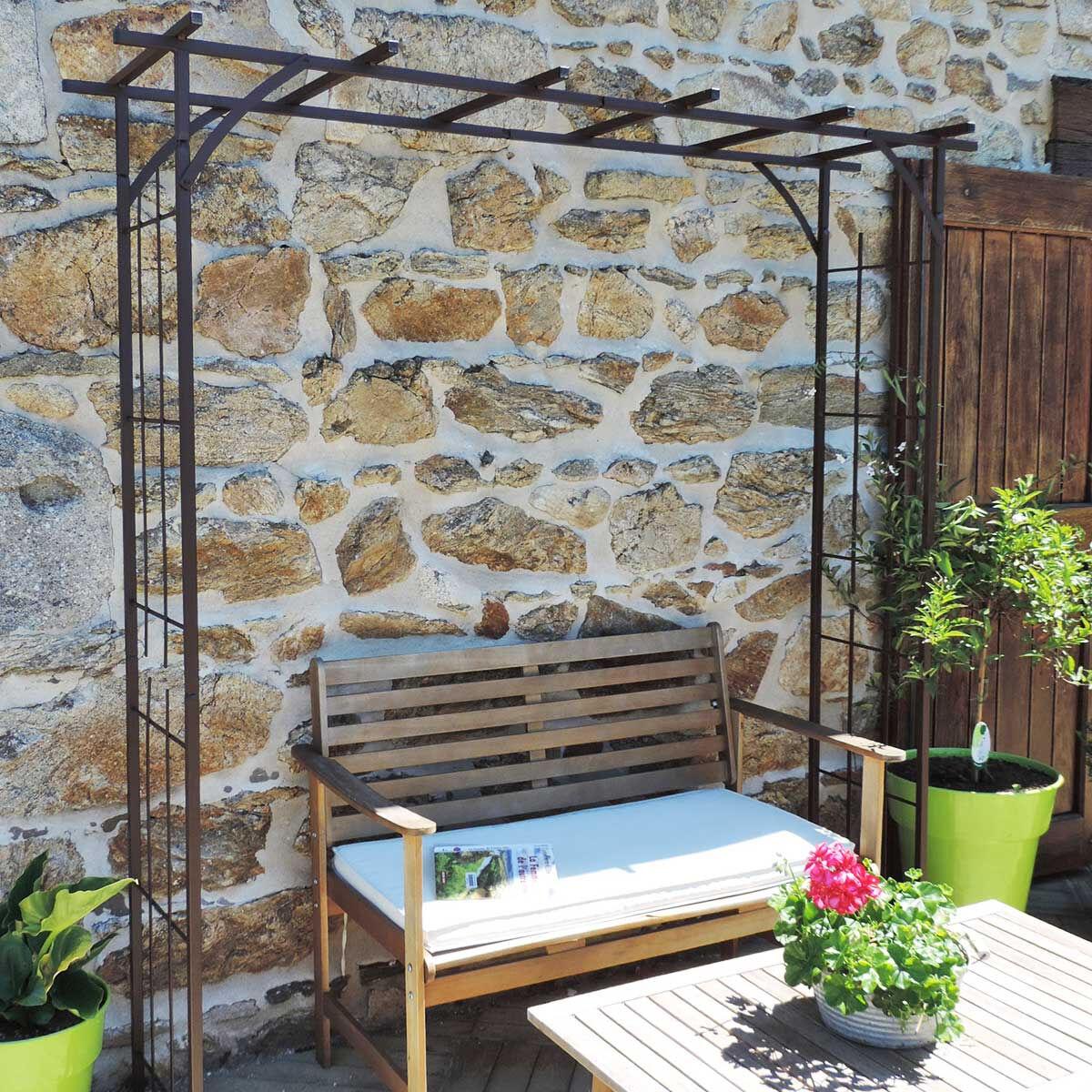 LMOULIN Arche de jardin en fer grand modèle + 4 supports à enfoncer - Louis Moulin