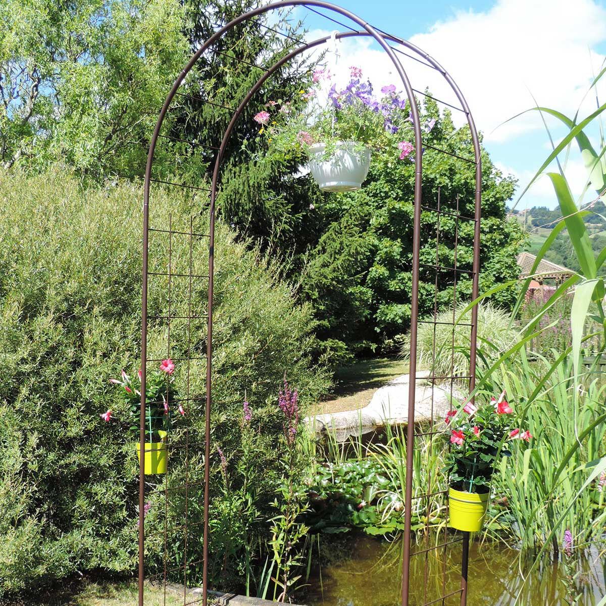 LMOULIN Arche de jardin treillage en fer petit modèle + 4 supports à enfoncer - Louis Moulin