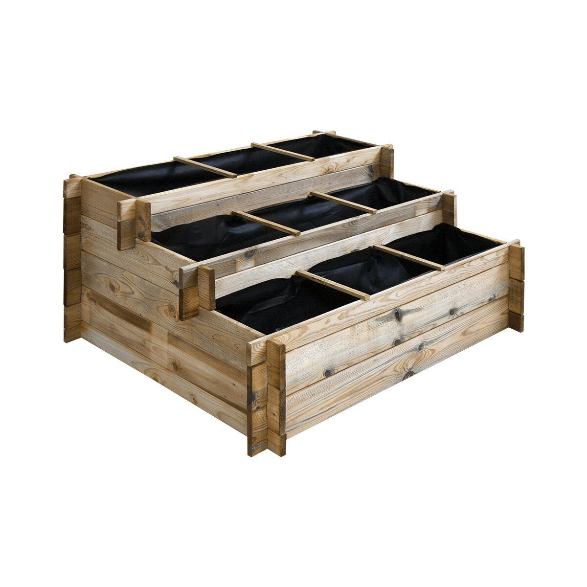 Cémonjardin Carré potager à étages en bois traité 120 x 100 cm